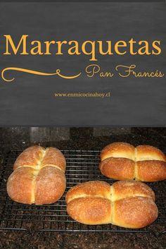 Aprende a hacer Marraquetas en casa, un pan chileno traditional. Chilean Recipes, Chilean Food, Bread Recipes, Cooking Recipes, Savoury Baking, Pan Dulce, Pan Bread, Latin Food, Food Humor