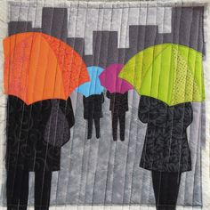 """""""A rainy day"""" -   Terry Aske Art Quilt Studio  I like how the lines going down at a slight diagonal look like rain!"""