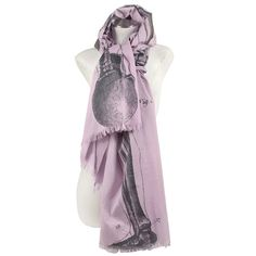 SKELETON 40x80 Cotton Voile Scarf - Lavender  by ThomasPaul