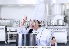 Asian chef is tasting a traditional soup in the kitchen - stock photo Soup, Asian, Stock Photos, Traditional, Kitchen, Cooking, Kitchens, Soups, Cuisine
