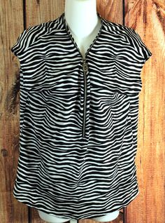 Michael Kors Sleeveless Top with Zip Up Front Size Small Black and White Striped #MichaelKors #KnitTop #Casual