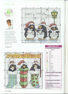 Cross-stitch Christmas Penguins