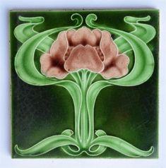 Antique Art Nouveau Tile By H A Olivant, c1905