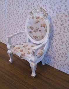 Armchair, Ladies boudoir, shabby chic.  a dollhouse miniature in twelfth scale. $12.50, via Etsy.