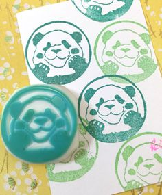 OH! PANDA - Hand Carved Rubber Stamp/Seal Stamps/Sticker Chop/Kawaii by KeiWorkshop on Etsy https://www.etsy.com/listing/254933729/oh-panda-hand-carved-rubber-stampseal