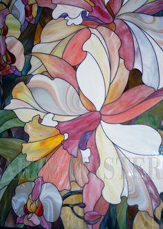"""Витраж в раме """"Орхидеи"""""""