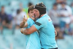 Mitch Short of the Waratahs celebrates scoring a try with Damien. Super Rugby, Sydney Australia, Scores, March, Couple Photos, Celebrities, Image, Couple Shots, Celebs