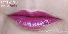 Miss Broadway Smart Kiss Lipstick   Ruby Red Swatch #missbroadway #bewe #lipstick #redlipstick #red #rouge #rubyred #makeup #beauty #levres #lips #beautyblog #beautyblogger #mybeautytools #LaCocci #beautyreview  http://mybeautytools.blogspot.com/2015/01/miss-broadway-smart-kiss.html