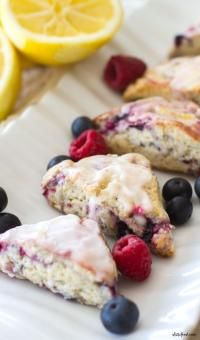Mixed Berry Scones with a Lemon Glaze from MyRecipeMagic.com