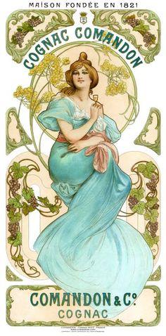 Comandon Cognac, Poster, Art Deco, Mucha Style, 1898