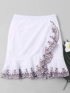 6883b62caf [70% OFF] [HOT] 2019 Plant Embroidered Trim Fishtail Skirt In WHITE. ZAFUL