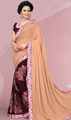 Feel as fresh as flowers dressed in this beige and brown color silk printed half n half sari. This enticing attire is displaying some extraordinary embroidery done with block print and lace work. #sareecollection2015 #casualsarees #casualprintedsaris