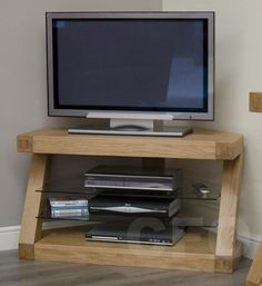 Zouk solid oak designer furniture corner television stand cabinet unit in Home, Furniture & DIY, Furniture, TV & Entertainment Stands | eBay