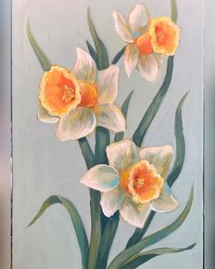 Daffodils: acrylic on canvas Floral Art - A quick sketch for a class Lily Painting, Acrylic Painting Flowers, Simple Acrylic Paintings, Acrylic Painting Canvas, Painting & Drawing, Flower Paintings On Canvas, Flowers On Canvas, Floral Paintings, Painted Flowers