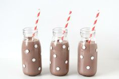 Cut idea for DIY polka dot hot cocoa bottles. Even easier to make if you Avery 6450 removable round labels.