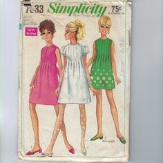 1960s Sewing Pattern Simplicity 7633 Juniors Mini Dress with Front Pleats High Waist Mod Size 11 Bust 33 34 1968 60s by historicallypatterns on Etsy https://www.etsy.com/listing/239510322/1960s-sewing-pattern-simplicity-7633