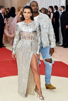 At the 2016 MET gala, Kim Kardashian and Kanye West in custom-made Balmain looks #BALMAINARMY