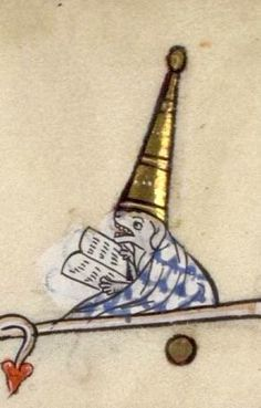 The Dog reader with a fancy hat Verdun, MS107, 14th c.