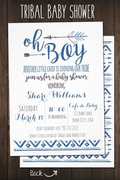 Oh Boy! Tribal Baby Shower Invitation Theme | Boho Baby Invite