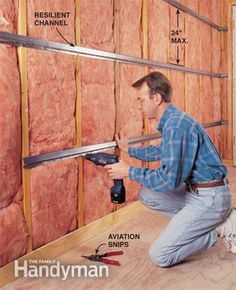 Sound Proofing: Screw on resilient channel to help soundproof a room.