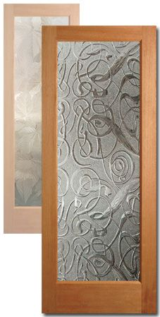 Interior Wood Door With Artfully Frosted Glass.