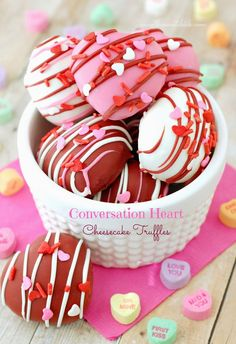 Conversation Heart Cheesecake Truffles by The Sweet Chick Valentines Day Desserts, Valentine Cake, Just Desserts, Delicious Desserts, Dessert Recipes, Baking Recipes, Valentine's Day Quotes, Yummy Treats, Sweet Treats
