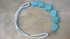 Turquoise haolite and white bead necklace