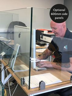 Glass & Mirror Solutions: leading North East suppliers and installers of custom glass. Glass splashbacks, glass balustrades and sneeze guards. Wooden Partition Design, Wooden Partitions, School Office Design, Office Screens, Mirror Cleaner, Afro Punk Fashion, Sneeze Guard, Healthcare Design, Custom Glass