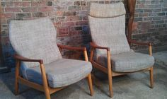 'Stunning pair of Bovenkamp arm chairs #wood #grey #curve #pair #shortandtall #armchair #vintage #retro #euvintage