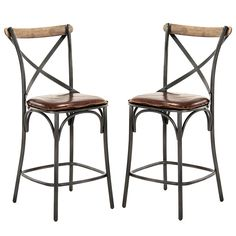 Zain Counter Stool (Black Frame) - Industrial Chic