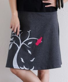 Another great find on #zulily! Dark Charcoal Gray Bird & Tree Jersey A-Line Skirt #zulilyfinds