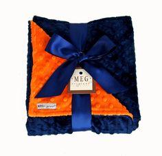 Navy Blue & Orange Minky Dot Blanket-meg, meg original, blanket, baby, boy, chicago, bears, chicago bears, boys, football, daddy, sports fan, minkee, dimple, dots, soft, warm, layette, registry, baby boutique, upscale, trendy, fun, baby shower, gift, present, navy and orange, navy blue & orange,