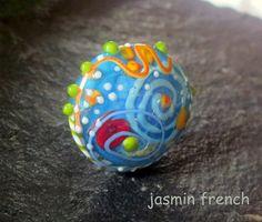 jasmin french ' baltic sea ' RINGTOP lampwork bead ooak