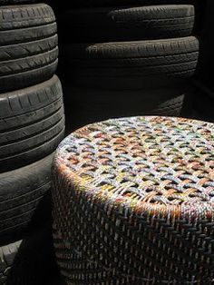 Chair from old tyres!The Retyrement Plan: Upcycled fab from Anu Tandon Vieira Tyres Recycle, Recycled Tires, Reuse, Upcycled Crafts, Repurposed, Dyi, Used Tires, Farm Crafts, Trash To Treasure