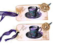 Gift Tags  Set of 2 Tea For Two by valburgesscollage on Etsy