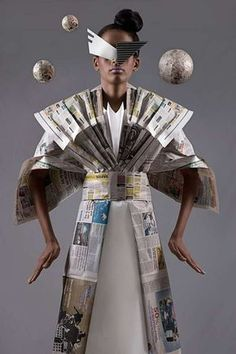 """Manuel Minino""""s Newspaper Dress from his """"Paper Dolls"""" Collection Recycled Costumes, Recycled Dress, Recycled Art, Recycled Clothing, Newspaper Art, Newspaper Dress, Paper Fashion, Fashion Art, Fashion Design"""