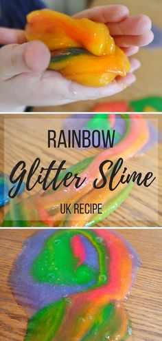 Rainbow Glitter Slime Sensory Play - a recipe for making slime that uses laundry starch and glue. Create the perfect Rainbow Glitter Slim Rainbow Activities, Fun Activities For Kids, Sensory Activities, Infant Activities, Crafts For Kids, Rainbow Crafts, Kids Fun, Learning Activities, Playdough Slime