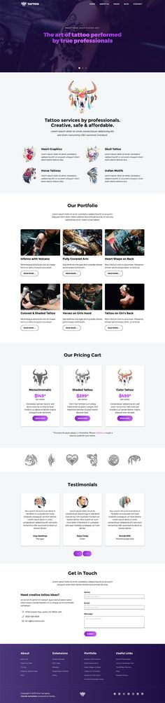 Tattoo template is responsive Joomla! template for tattoo masters. On a long home page, it contains all important elements for a tattoo studio. Page Design, Web Design, Jquery Slider, Tattoo Templates, Tattoo Master, Food Template, Joomla Templates, Professional Tattoo, Praise And Worship