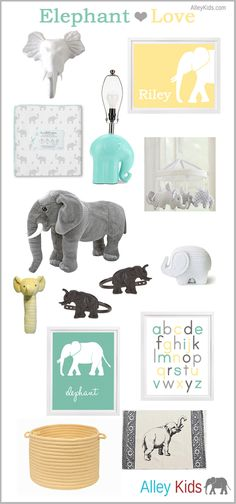 Showing a little bit of Elephant LOVE today! Featuring colors aqua, gray and soft yellow. Perfect for a boy or girl nursery. Wall Hook Personalized Elephant Print  Blanket Lamp Base Mobile...