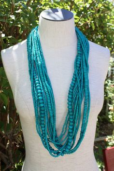 Beautiful Turquoise Resin Beaded Necklace.
