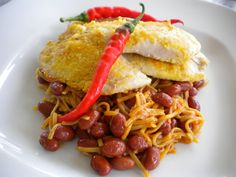Tilapia recipe with Cayenne Peppers Over Spicy Noodles and Kidney Beans