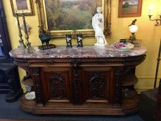 """Antique French Style Sideboard Buffet With Marble Top   Henry II   Walnut, Carved   Beautiful Marble Top  7' Wide x 25.5"""" Deep x 40"""" High  $4500  #84424  Rick's Antiques and Home Decor"""