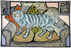 Richard bawden Father and son Edward and Richard Bawden shared distinctive linear style, as well as an appreciation of the cat as a subject. (Edward Bawden began his career at the age of seven, by studying and copying Louis Wain's drawings of cats. Art And Illustration, Illustrations, Linocut Prints, Art Prints, Frida Art, Photo Chat, Wassily Kandinsky, Pretty Cats, I Love Cats