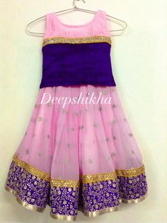 Light pink and blue kids lehenga