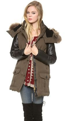 Mackage down jacket with leather sleeve