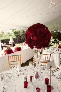Red Roses and votives wedding decor