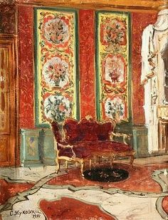 Stanislav Yulianovich Zhukovsky (Станислав Юлианович Жуковский) (Polish Russian artist, 1875–1944) Interior with Red Divan 1914
