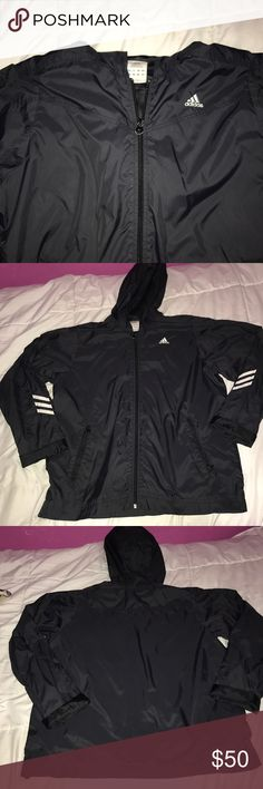Adidas windbreaker In perfect condition!! I payed $70 for this windbreaker!! It's a size large but I like that oversized look!! I got so many compliments when I wore it !! Only looking to trade!! Adidas Jackets & Coats