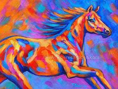 """""""Racing the Wind"""" by Theresa Paden. Acrylic paint on a  9"""" x """"12"""" panel."""
