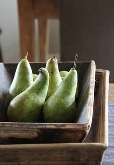 Green Pears in Wood Trays